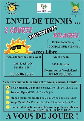 ENVIE DE TENNIS CET ETE...