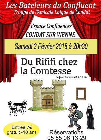 Prochaine représentation des Bateleurs du Confluent le 3 février : Du Rififi chez la Comtesse !