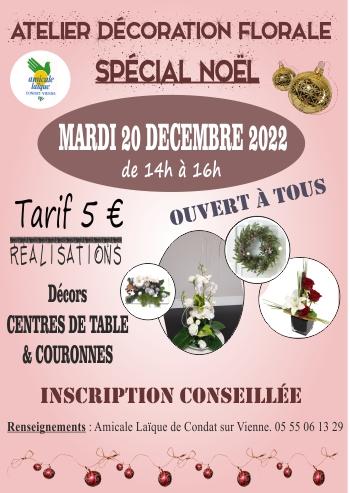 """Atelier spécial de Noël """"Déco Florale"""""""