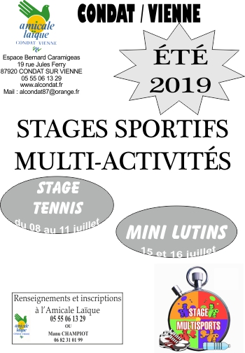 STAGES MULTI ACTIVITES ETE 2018