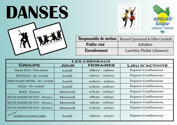 DANSES (en duo ou solo, Salon, Rock, Salsa, West Coast Swing, Batchata)