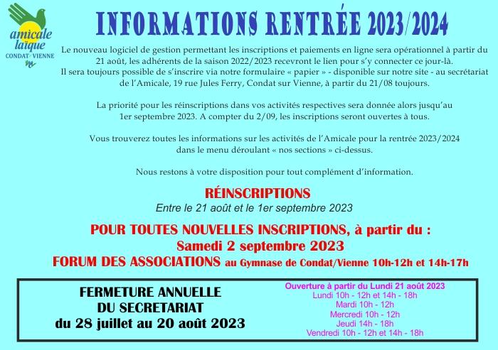 INFORMATIONS RENTREE SAISON 2020-2021