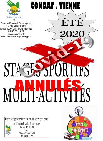 STAGES MULTI ACTIVITÉS ÉTÉ 2020