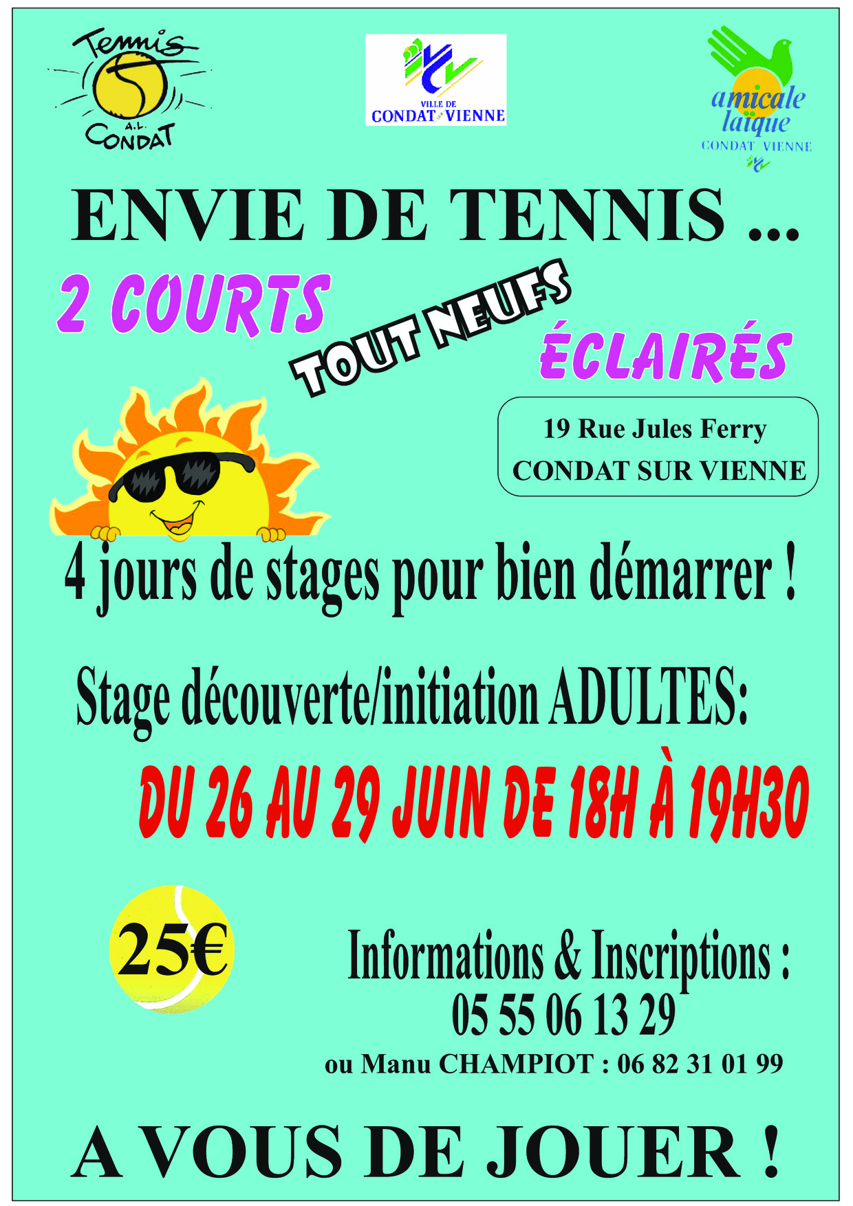 STAGE INITIATION TENNIS POUR LES ADULTES