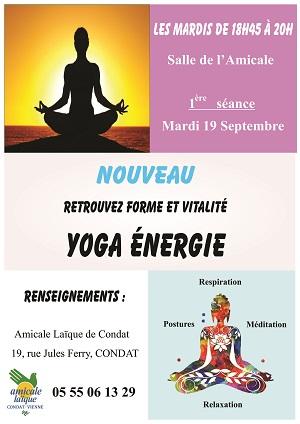 """YOGA ENERGIE : nouveau """"yoga"""" à l'AL Condat avec Sylvie"""