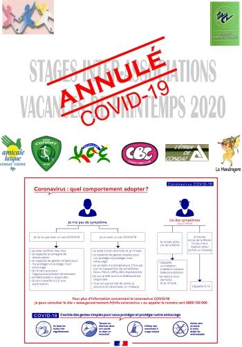 Stages INTER ASSOCIATIONS - Printemps 2020