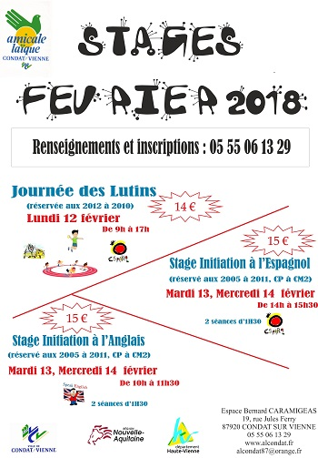 STAGES FEVRIER 2018