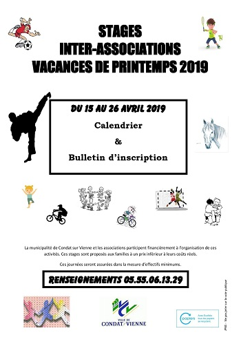 Stages INTER ASSOCIATIONS - Printemps 2019